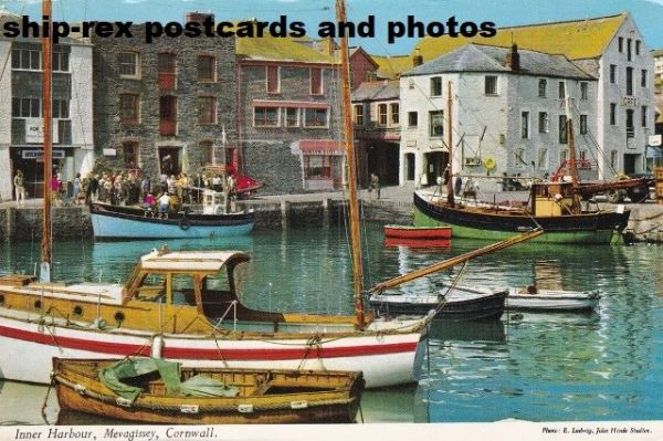 Mevagissey (Cornwall) harbour, postcard (b)